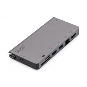 DIGITUS USB-C Multiport Travel Dock, 8 Port, Grau 2x Video, 2x USB-C, 2x USB3.0, RJ45,2x Kartenleser