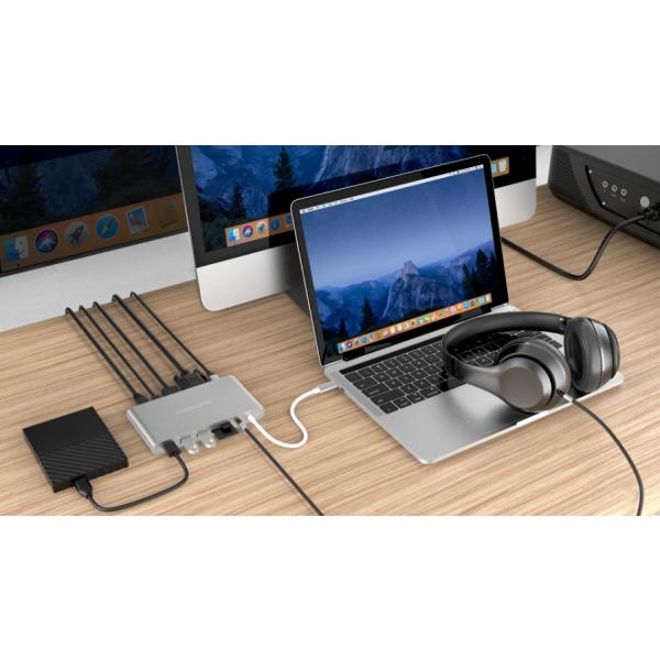 HyperDrive Ultimate 11-in-1 Silver Desk 3